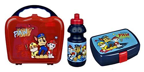 Scooli PPAT9860 - Juego de vajilla en maletín, Fiambrera con Clip y Botella de 400 ml, la Patrulla Canina, fácil de Abrir y Cerrar, sin BPA ni ftalatos
