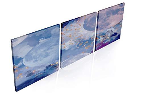 Cuadro en Lienzo Impresion Artistica Universo Abstracto 3 Piezas 30x30 cm Decoracion Sala de Estar Dormitorio Cocina Arte de la Pared