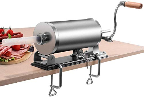 RELAX4LIFE 3,6L Wurstfüller manuell, Wurstfüllmaschine mit 4 Füllrohre, Wurstpritze für Metzgerei & Bäckerei & Küche & Restaurant, Wurstpresse mit Tischklemme, Wurstmaschine aus Edelstahl & Aluminium