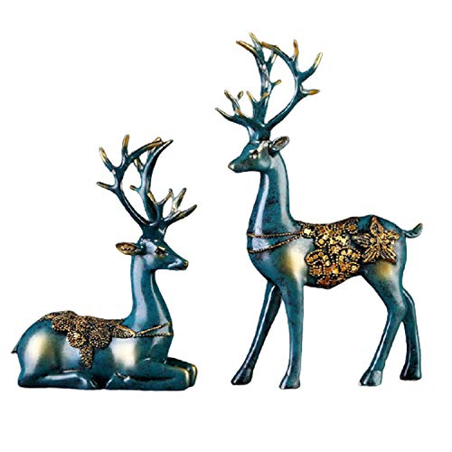 Reindeer Animal Figurine Statues Set of 2,Resin Crafts Couple Deer Ornaments, for Decor Accents Living Room Bedroom Office,Living Room Office Desk Decoration Gifts
