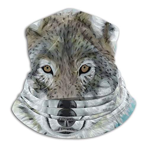 YBEAYQYXR Art Wild Animal Grey Wölfe Kopf Fell in Grün Splash Doodle Unisex...