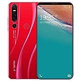 Smartphone 128gb Pantalla De CaíDa De Agua De 6.1 Pulgadas, CáMara De 13-18Mp, Batería De 4000mAh, TeléFono MóVil con Reconocimiento Facial, Desbloqueo Facial 128GB Red