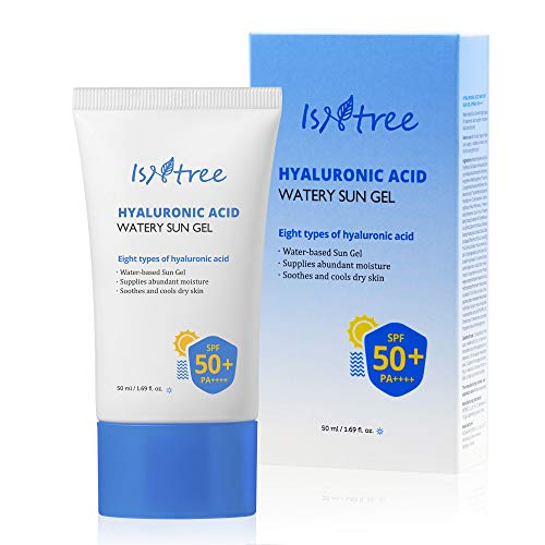 ISNTREE Hyaluronic Acid Watery Sun Gel SPF 50+ PA++++ 1.69 Fl Oz, 8 Types of Hyaluronic Acid, Strong Protection Against UVA and UVB Rays, No White Cast, Reef-safe, Non-nano Sunscreen