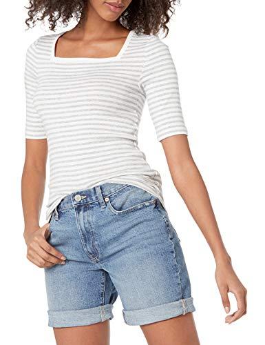 Amazon Essentials Women's Slim Fit Half Sleeve Square Neck T-Shirt, White/Heather Grey, Stripe, Medium