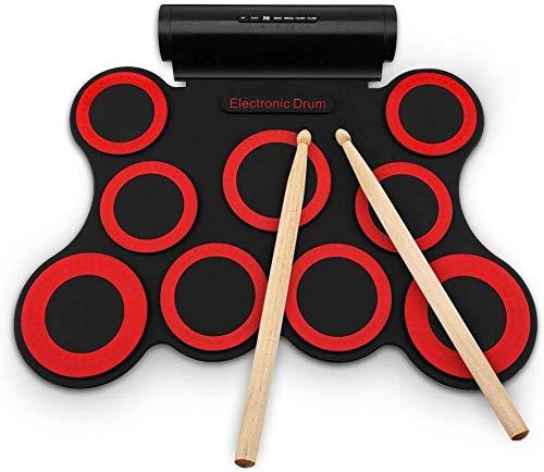 BD.Y Kit de batería eléctrica Digital 9 Almohadillas Instrumento de práctica Plegable...