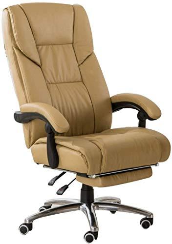 MCE Silla de oficina reclinable ejecutiva, ergonómica de respaldo alto para juegos de carreras, giratoria, altura ajustable, con taburete para computadora, silla de oficina (color crema)
