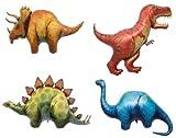 LoonBalloon Dinosaur TRICERATOPS STEGOSAURUS T-REX APATOSAURUS (4) Party Mylar BALLOONS Set