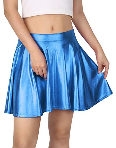 HDE Women's Solid Color Metallic Flared Pleated Club Skater Skirt (Blue, Small)