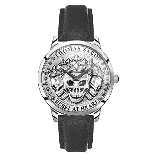 THOMAS SABO Herren Analog Quarz Uhr mit Leder Armband WA0355-203-201-42 mm