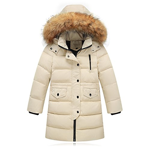 Seeduck Big Girls' Winter Parka Down Coat Puffer Jacket Padded Overcoat with Fur Hood (4T=110CM=43.3 Inch, Beige)