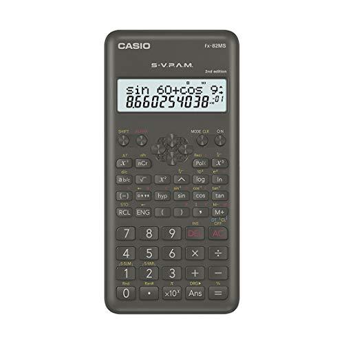 Casio fx-82MS Taschenrechner, wissenschaftlicher Taschenrechner, Schwarz, 12 Ziffern, 2 Zeilen, Batterie/Batterie, Schwarz