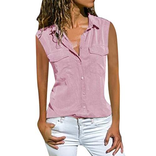 Damen Ärmellos Denim Shirt, LeeMon Tank Tops Sommer Ärmellose Shirts V-Ausschnitt Bluse Shirt Tops Revers Kragen Hemdbluse V Ausschnitt Kurzarmshirts Blusen