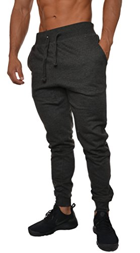 YoungLA Mens Slim Fit Joggers Fitness Sweatpants Gym Training 204 Charcoal X-Large