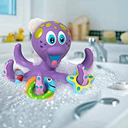 Nuby floating octopus bath toy 3 funky rings to throw on octopus's tentacles Helps develop hand-eye coordination Great for bath time or in the paddling pool Bpa free