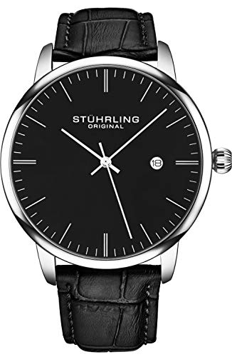 Stuhrling Original Mens Watch Calfskin Leather Strap - Dress + Casual Design - Minimalist Analog Watch Dial with Date, 3997Z Watches for Men Collection (Black Silver)