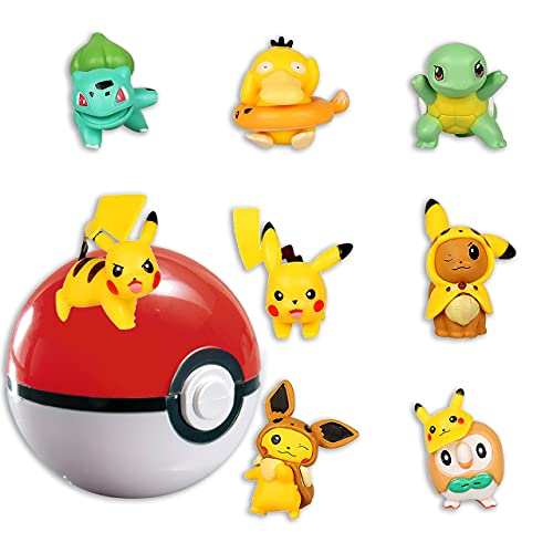 HONGECB Mini Pokemon figuras, Pikachu Cake Topper Figuras, Pokebola, Acción Juguetes Modelo...