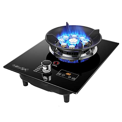 DYB Estufa de Gas a Gas, Estufa de Gas portátil 1 Quemador Wok 5.2kW Estufa de Vidrio Negro de Fuego Feroz de Nueve cavidades [Clase energética A +] [Clase energética A] (Color: C, Tamaño: NG)