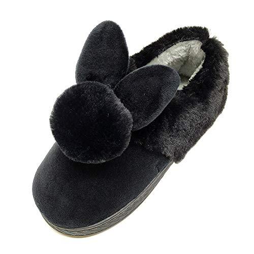 [HRFEER] 子供スリッパ ルームシューズ ウサギちゃん かわいい キッズ 上履き ボア付き あったか かかとあり 滑り止め 小学生 幼児用 防寒 秋冬用 (200mm(内寸約17.5cm), ブラック)