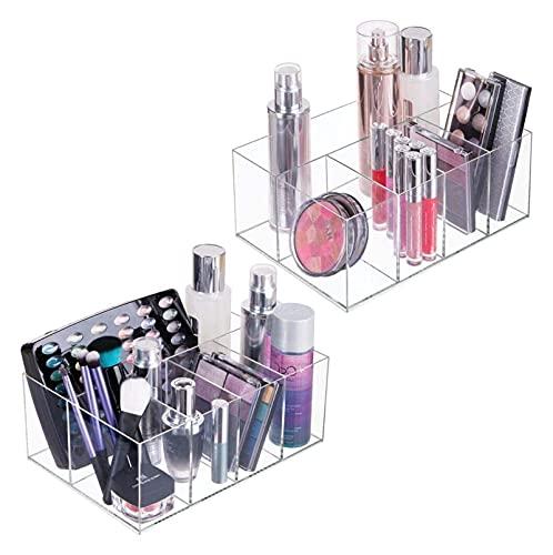 sacfun Conjunto de 2 Organizador de cosméticos  Caja de Almacenamiento práctica con Cinco Compartimentos para Maquillaje, Esmalte de uñas y Productos de Belleza  Almacenamiento de Maquillaje útil