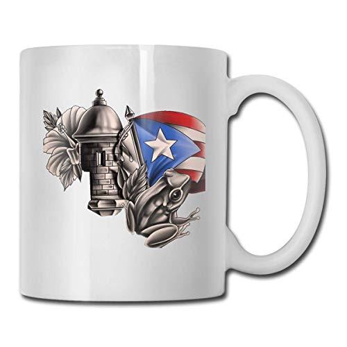 Taza con la bandera de Puerto Rico, taza de café para bebidas calientes, taza de gres, taza de café de cerámica, taza de té de 11 onzas, divertida taza de regalo para té y café