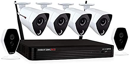 Night Owl Home Security Camera System with 4 Wired 4K Indoor/Outdoor Cameras and 2 Wireless 1080p HD Indoor Cameras with Night Vision, 1 TB Hard Drive