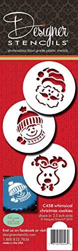 Designer Stencils C458Whimsical Holiday Cookie Stencil Set, (Pupazzo di Neve, Renna, Babbo Natale), Beige/Semi-Transparent