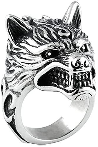 Anillos De Lobo Vikingo De Acero Inoxidable Nórdico para Hombres Anillo De Cabeza De Lobo Gótico Retro Joyería De Amuleto De Motorista,11
