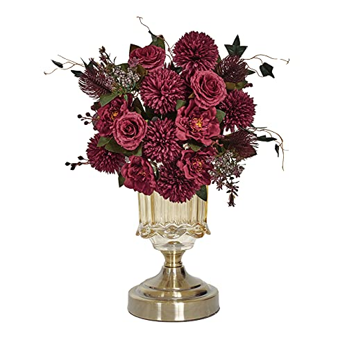 LA.PONEE Artificial Flowers, Bouquets of Fake Hydrangeas Peony Rose for Home Decoration, Silk Flowers Centerpieces for Tables, Faux Floral Arrangements, NO Vase(Burgundy Red-2PCS)