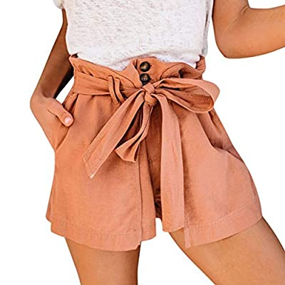 RAINED-Paper Bag Shorts for Women high Waisted Casual Solid Color Shorts Elastic Waist Bowknot Harem Shorts