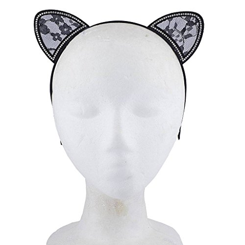 Lux Accessories Halloween Black Lace Cat Ear Cosplay Party Costume Accessory Headband 3