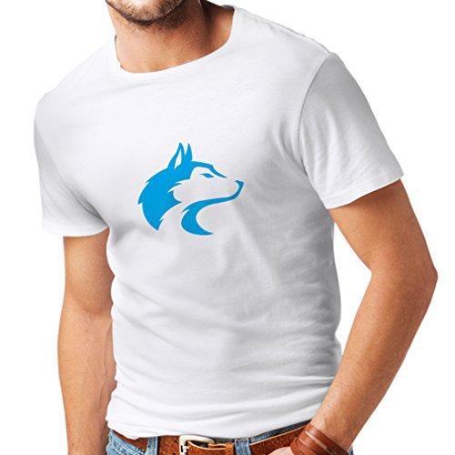 lepni.me Camisetas Hombre la Llamada del Lobo Salvaje - gráfico Genial con sentimiento Espiritual (XXXX-Large Blanco Azul)