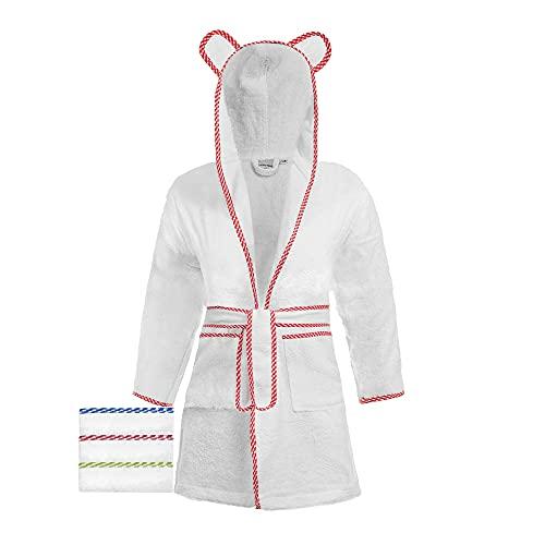 Lovely Hippo Peignoir Enfant Garçon Fille 100% Coton Oeko-Tex ® sans Substances Chimiques Design Français (9-10 ans (134-140cm), Blanc/Rouge)