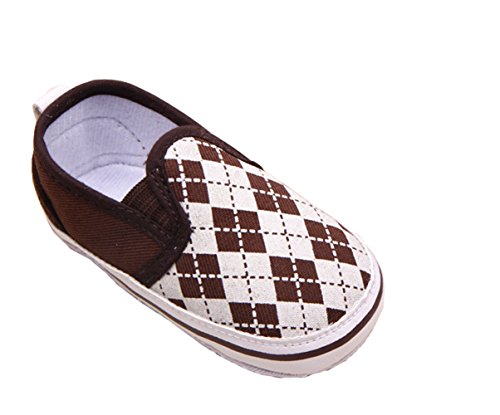 YICHUN Bébé Chaussures de Premier Pas Chaussures de Loisir Chaussures Souples Carreau (Longueur de Semelle:12CM, Marron+Kaki)