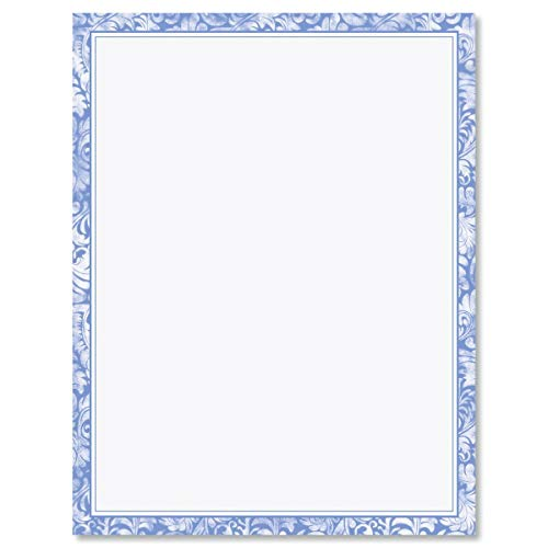 Blue Alluring Border Easter Stationery - For Hand-Written Notes, Holiday Greetings, Printer Compatible Letter Paper, 70# Text, 25 Sheets, 8 x 11 Inches