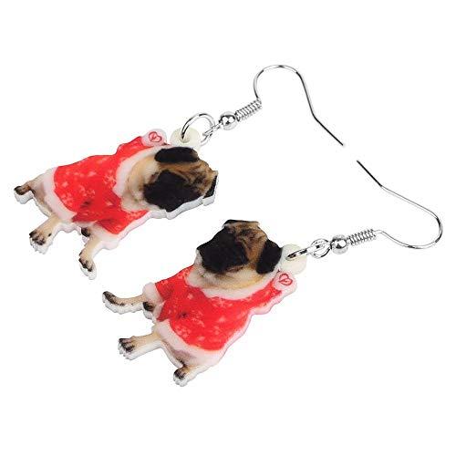 ESIVEL Acrílico Disfraz de Navidad Vestido Pug Pendientes de perro Drop Dangle...