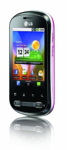 LG P350 Optimus Me Smartphone (7,1 cm (2,8 Zoll) Bildschirm, Touchscreen, 3 Megapixel Kamera) schwarz/pink