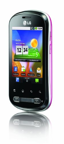 LG P350 Optimus Me Smartphone (7,1 cm (2,8 Zoll) Display, Touchscreen, 3 Megapixel Kamera) schwarz/pink