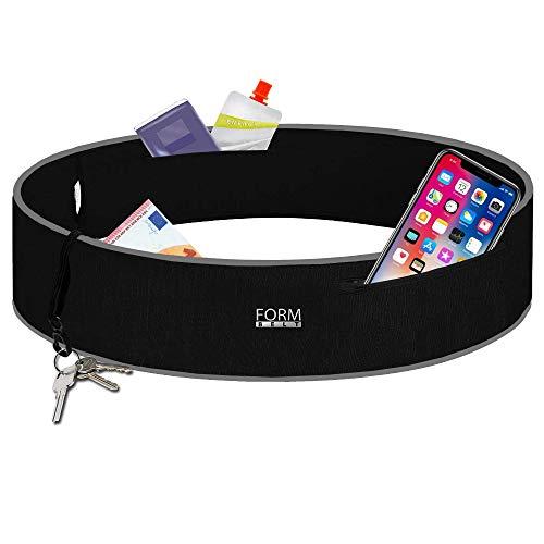 Formbelt® Plus Sport-Bauchtasche mit Reißverschluss, Laufgürtel für Handy Smartphone, elastische Lauftasche iPhone 8 8 Plus X 7 Plus + Samsung Galaxy S-7 S8 Plus Reise-Hüfttasche schwarz XL