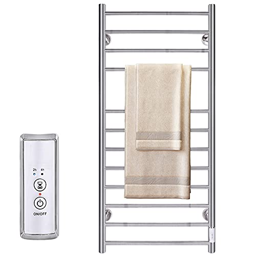 JSLOVE Towel Warmer Wall Mounted Heated Towel Racks for Bathroom, Stainless Steel Hot Towel Rack with Timer (12 Bars Brushed)