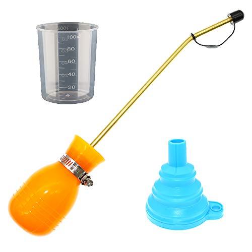 BITEYI Dispensador Aplicador de Insecticida en Polvo Antiinsectos Alimañas,Bombilla Tierra de Diatomeas Plumero Pulverizador (Naranja)