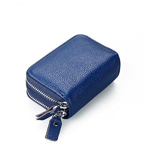 AprinCtempsD RFID Cartera Tarjeteros Piel Genuino Monedero Pequeñas Portatarjetas Mini Cremallera para Mujer Hombre (Azul)