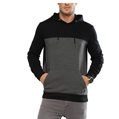 Zembo Men's Cotton Solid Hoodie Black