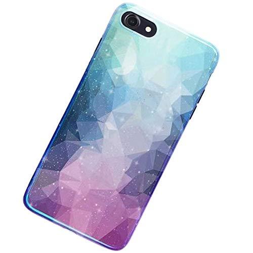 MoreChioce MoreChioce kompatibel mit iPhone 7 Hülle, iPhone 8 Hülle Glitzer,Niedlich Kreativ 3D Blau Diamant Bling Strass Paillette Weiche Silikon Handyhülle Glitzern Sparkle TPU Case Defender Bumper