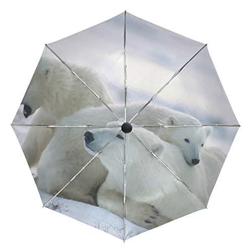 Lindo paraguas de viaje compacto con diseño de osos polares polares para...