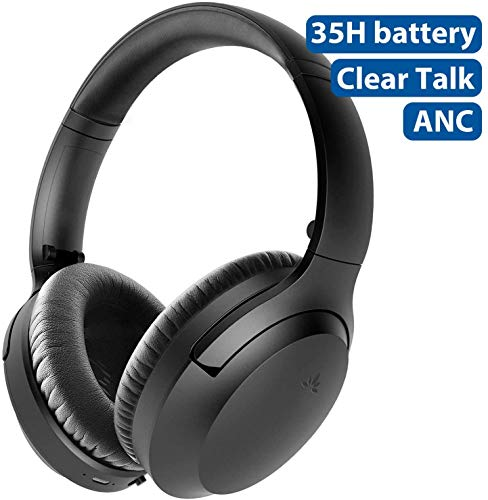 [2020] Avantree Aria Bluetooth Active Noise Cancelling Headphones with Mic for PC Computer Phone Call, Good Sound, Replaceable Spacious Ear Pads, 35H, Wireless & Wired ANC Over Ear Home Office Headset