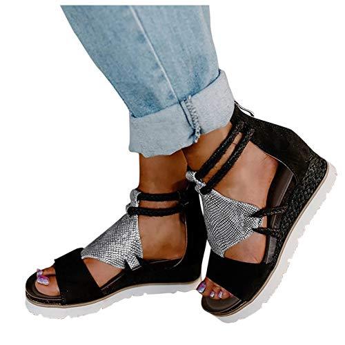 WINTOM Sandali Tacco Basso Ciabatte Estive Donna Comode Pantofole Sposa Bianche Eleganti Estivi Sandalo Donna Estivo Zeppa Sandali Donna Piatti Bohemia Women Shoes Heels
