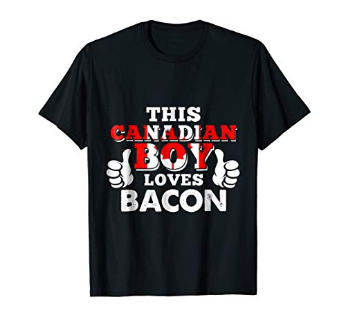 Bacon T-Shirt for Boys 'This Canadian Boy Loves Bacon'