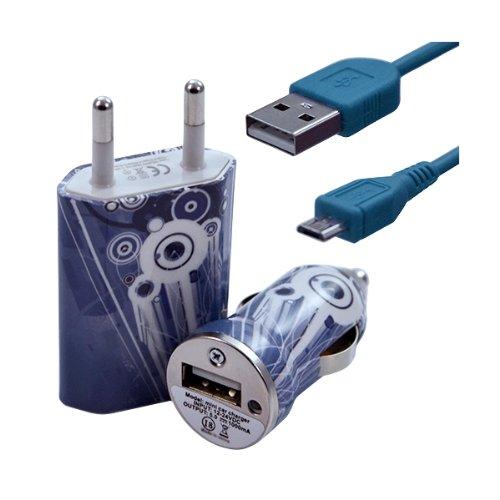 Seluxion–Cargador casa + mechero USB + Cable de Data para Wiko Cink Peax 2, diseño de CV07