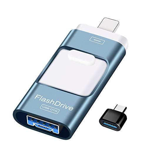 Sunany USB Stick 128gb Speicherstick Externer Speichererweiterung, Photostick Kopieren von Bildern und Videos mit Einem klick,Datenstick für iPhone, iPad, Android, PC und Weiteren Geräten(Blau)