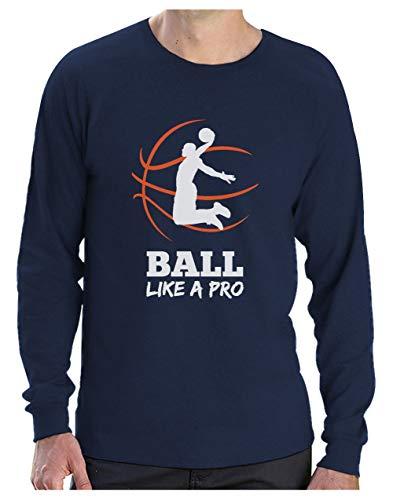 Camiseta de Manga Larga para Hombre- Baloncesto Regalos Originales Idea Regalo Jugador Baloncesto - Basketball Fans Medium Azul Oscuro